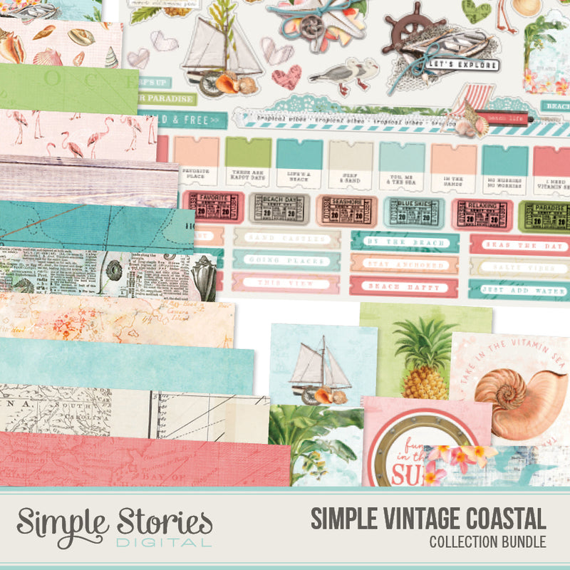 Simple Vintage Coastal Digital Banner Stickers