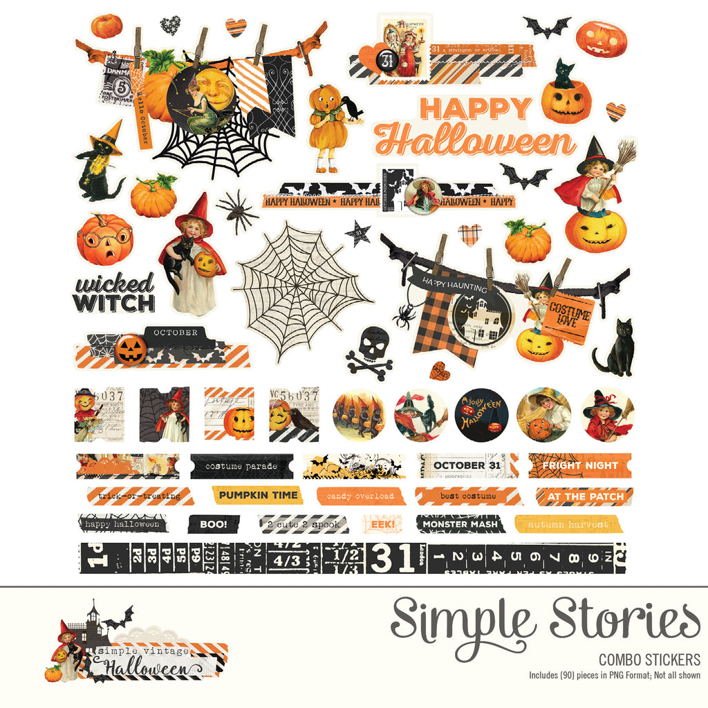 Simple Vintage Halloween Digital Stickers