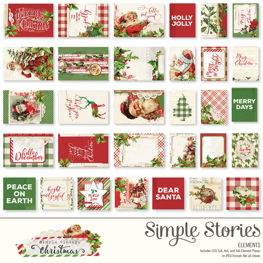 Simple Vintage Christmas Digital Elements