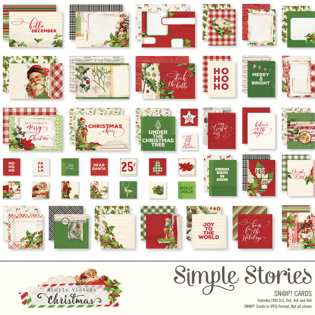 Simple Vintage Christmas Digital SNAP Cards
