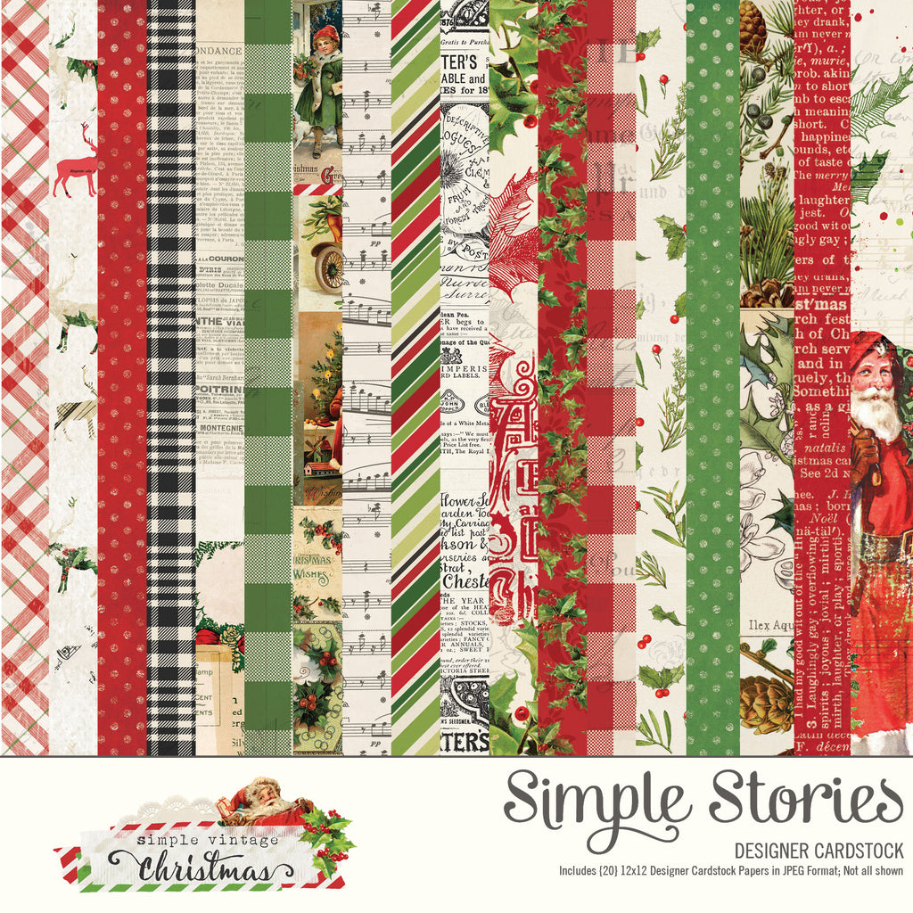 Simple Vintage Christmas Digital Designer Cardstock