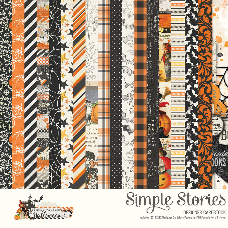 Simple Vintage Halloween Digital Designer Cardstock