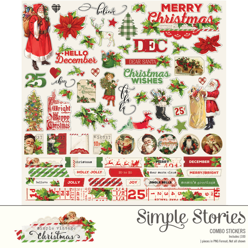 Simple Vintage Christmas Digital Stickers