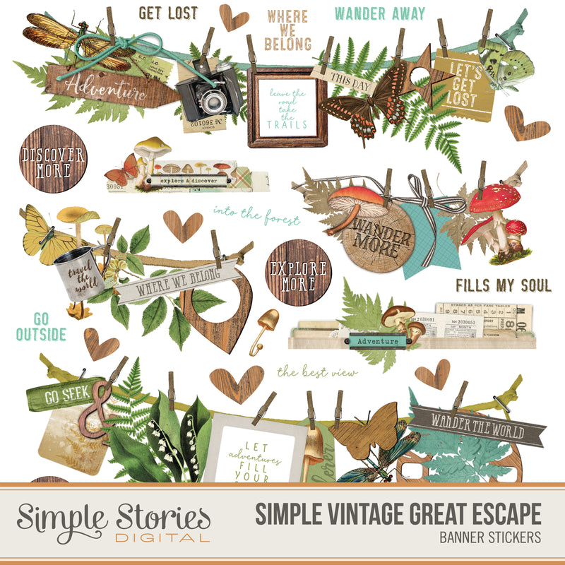 Simple Vintage Garden District Digital Banner Stickers
