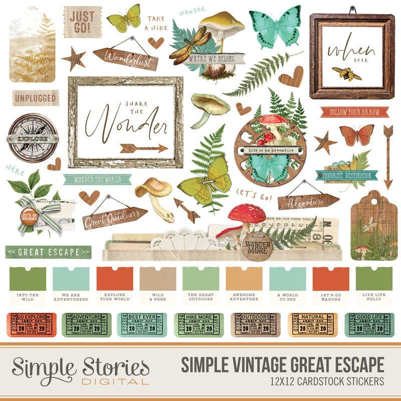 Simple Vintage Garden District Digital Elements
