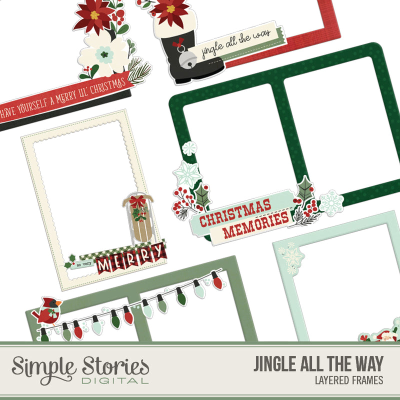 Jingle All the Way Digital Chipboard Frames