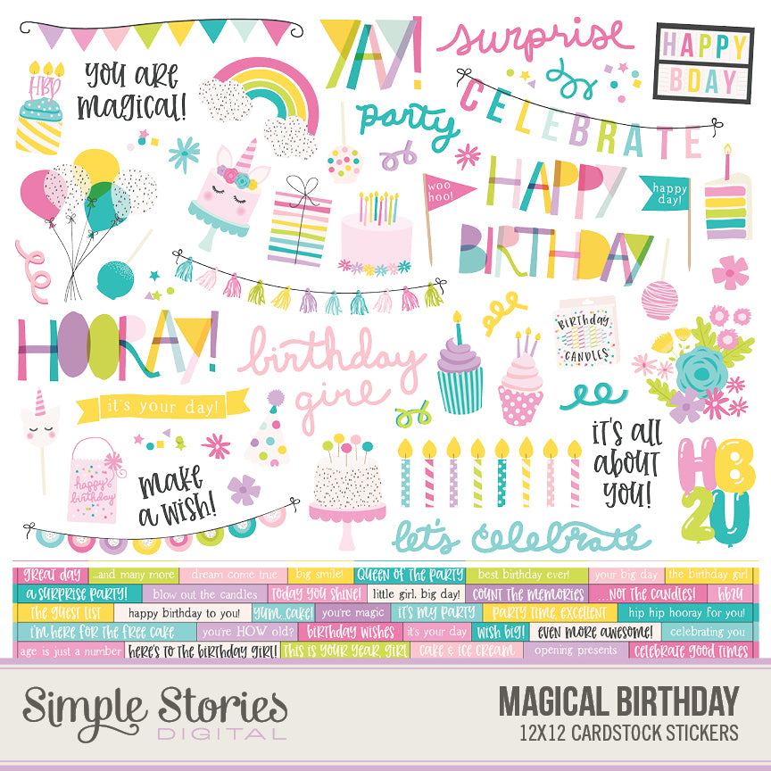 Magical Birthday Digital Stickers