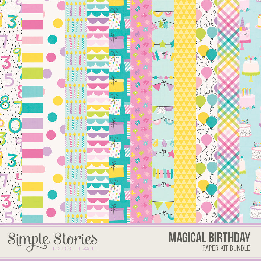 Magical Birthday Digital Paper Kit