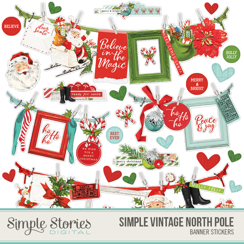 Simple Vintage North Pole Digital Banner Sticker