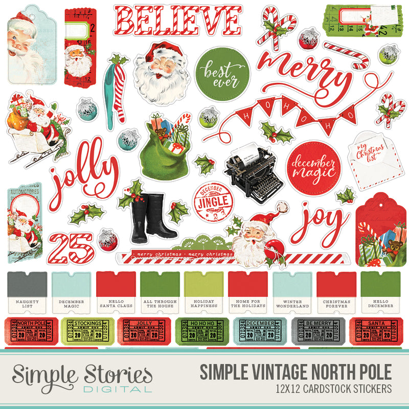 Simple Vintage North Pole Digital Stickers