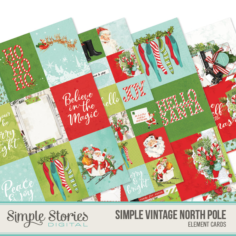 Simple Vintage North Pole Digital Elements