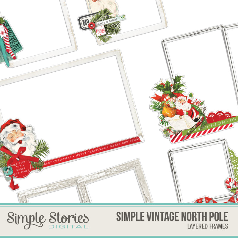 Simple Vintage North Pole Digital Chipboard Frames