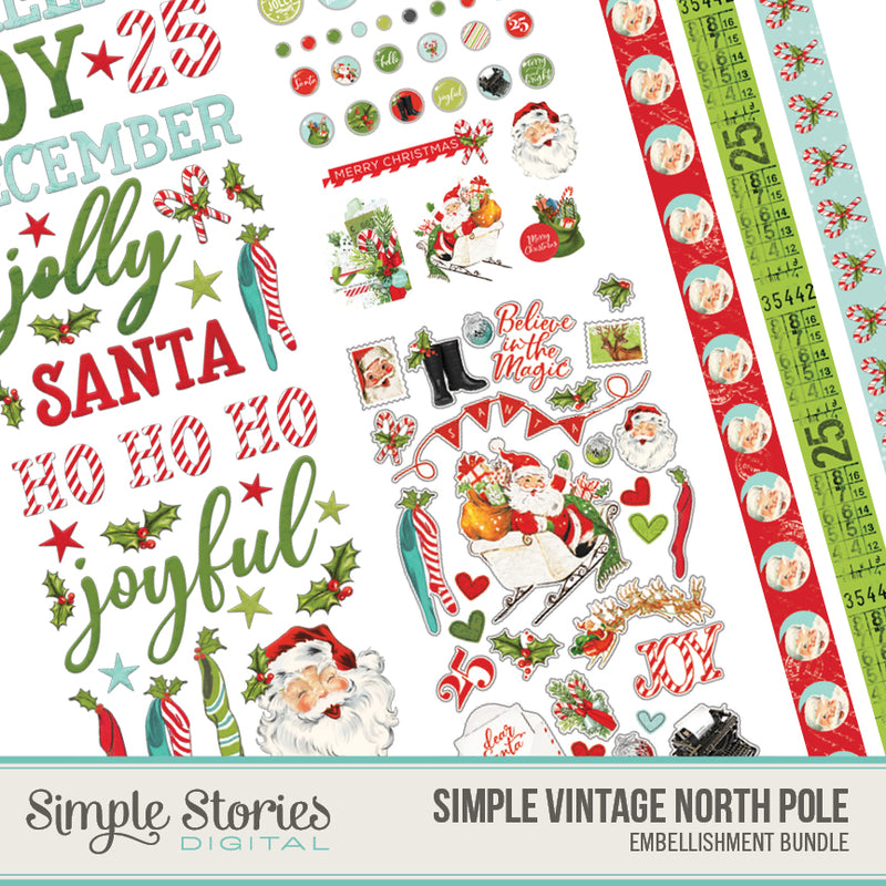 Simple Vintage North Pole Digital Embellishments