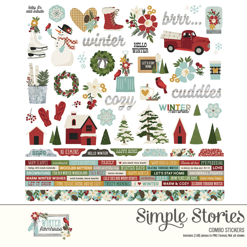 Winter Farmhouse Digital Stickers