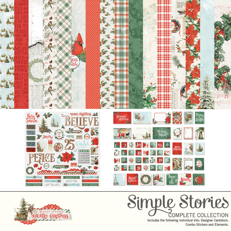 Simple Vintage Country Christmas Digital Elements