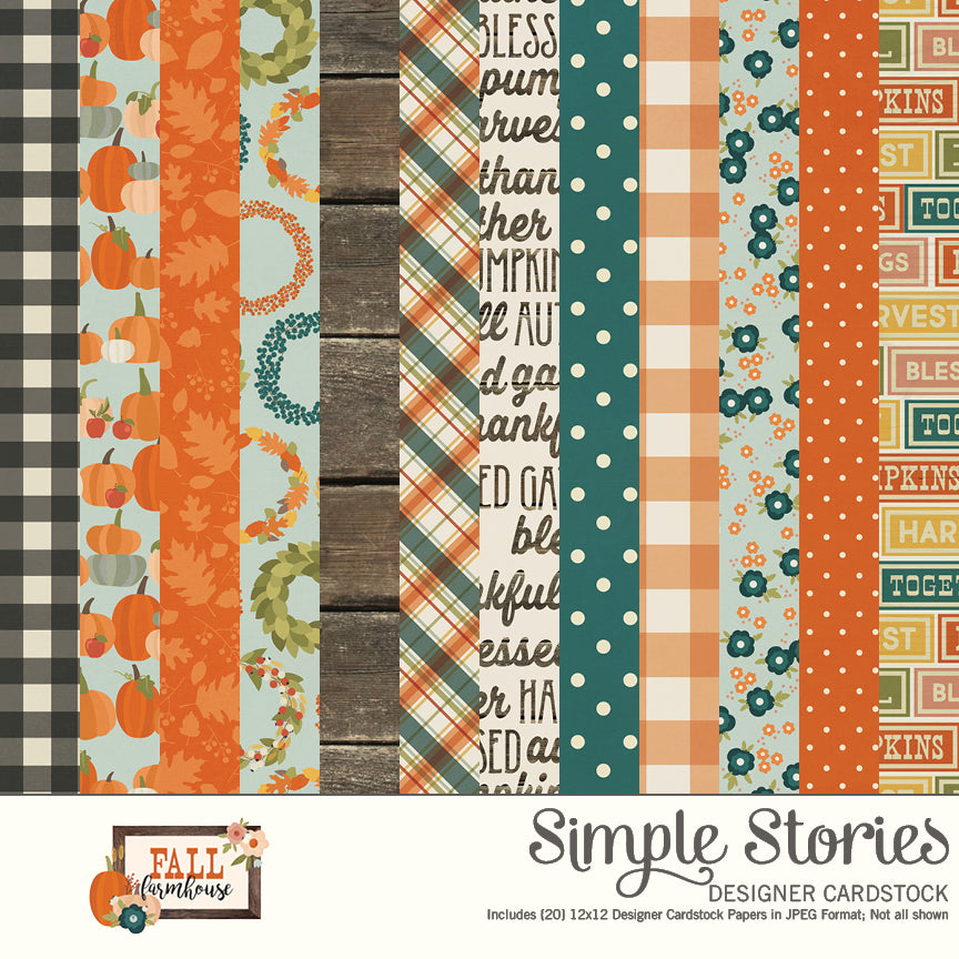 Fall Farmhouse Digital Designer Cardstock