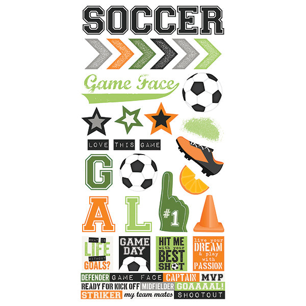 Soccer 6x12 Stickers 12 pack
