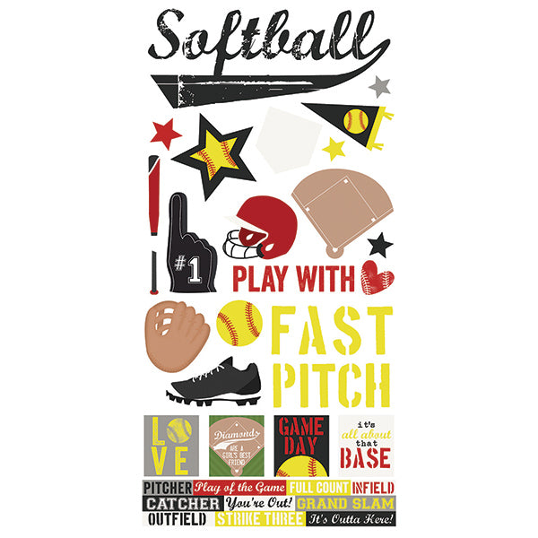 Softball 6x12 Stickers 12 pack