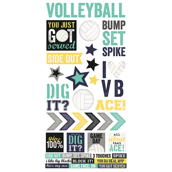 Volleyball 6x12 Stickers 12 pack