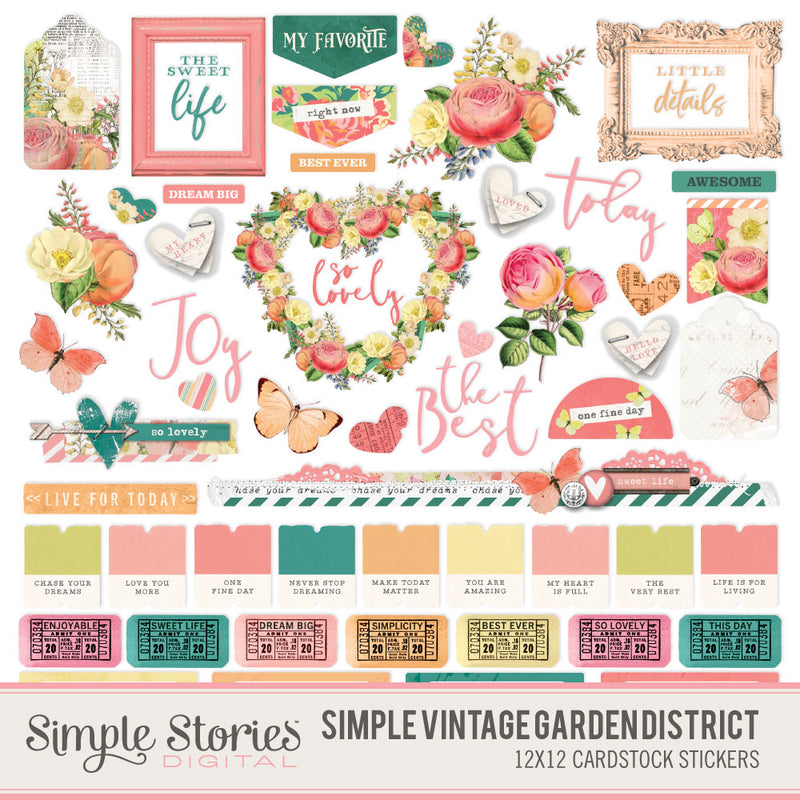 Simple Vintage Garden District Digital Stickers