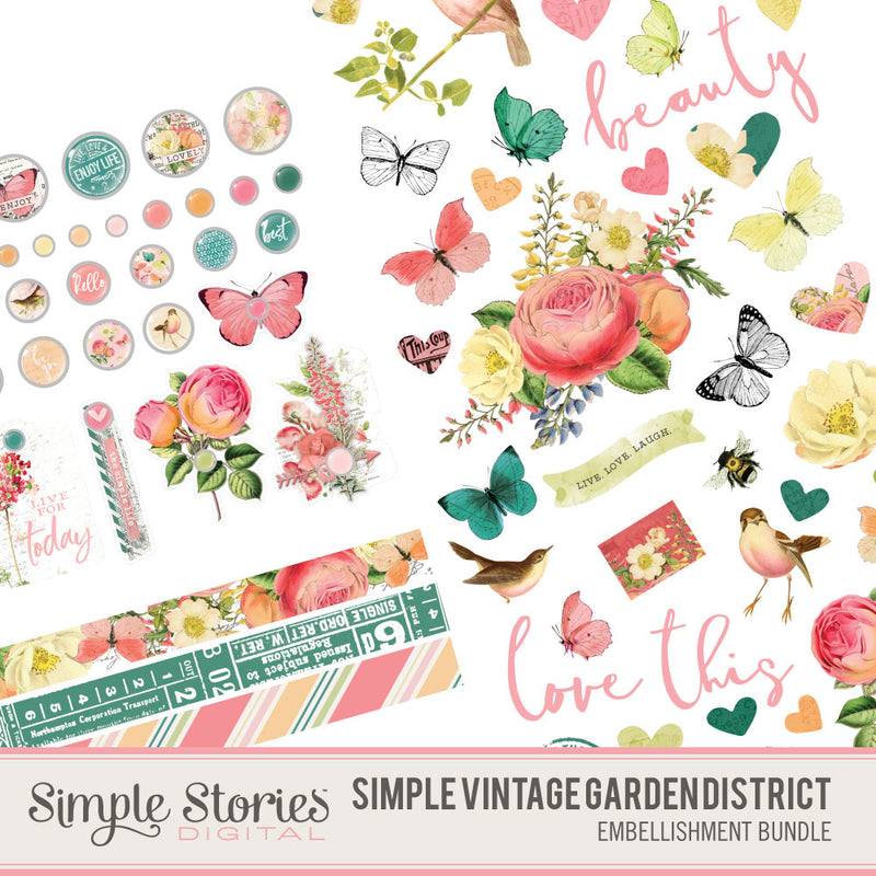 Simple Vintage Garden District Digital Embellishment Bundle
