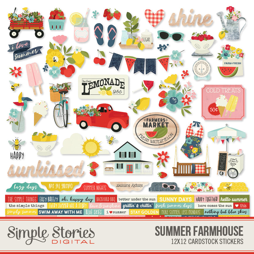 Summer Farmhouse Digital Stickers