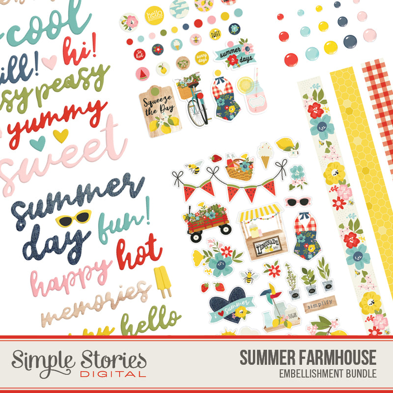 Summer Farmhouse Digital Embellishment Bundle