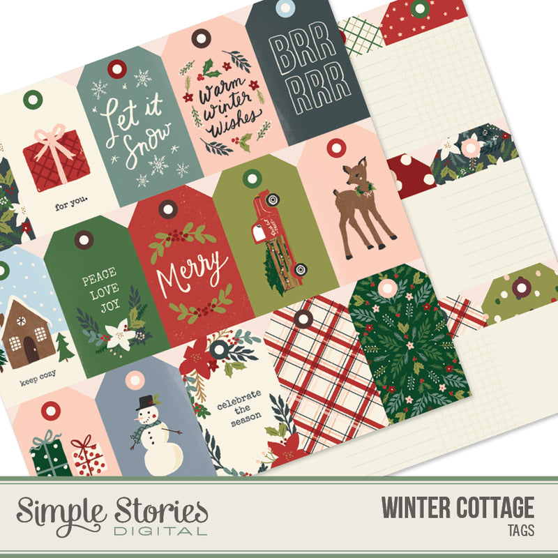 Winter Cottage Digital Tags