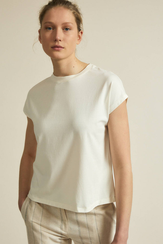 Shirt with overlapping shoulder - cream