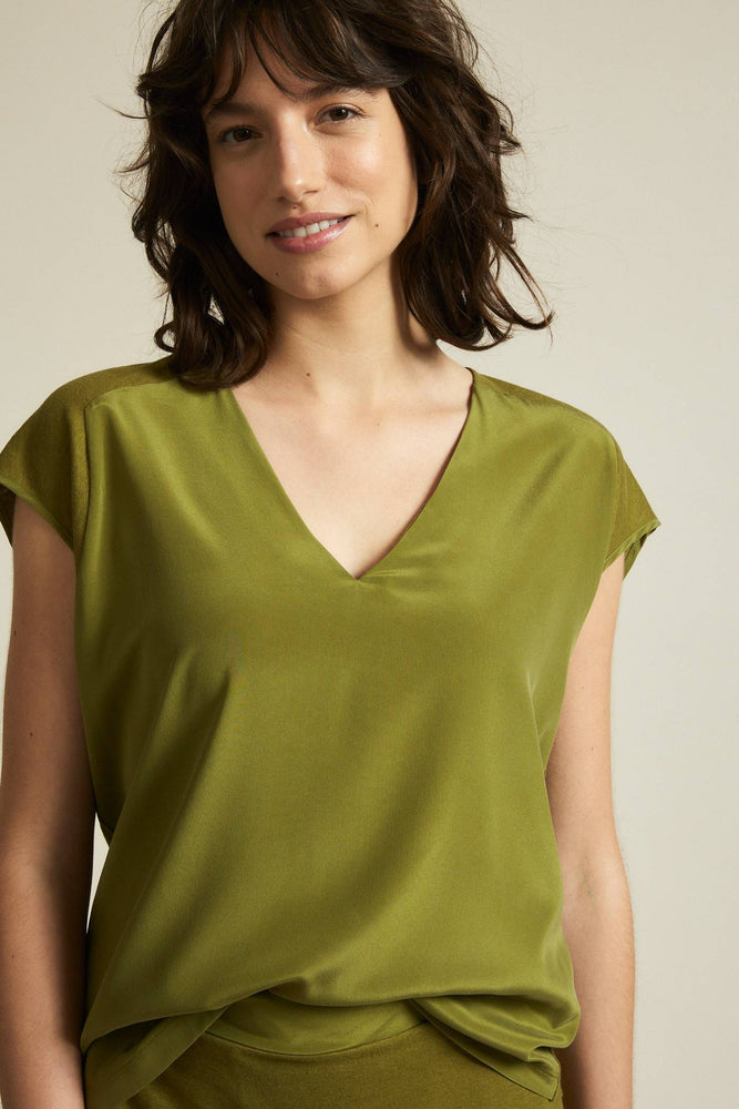 Silk Shirt with Hemp - olive