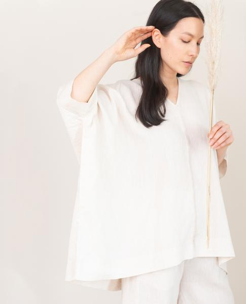 Leonor Linen Top - cream