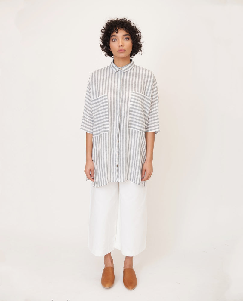 Marsha Linen Shirt In Grey And White