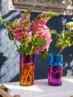 MOROCCAN VASE - S - PINK AND BLUE