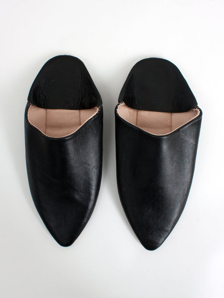 MOROCCAN CLASSIC POINTED BABOUCHE SLIPPERS- BLACK