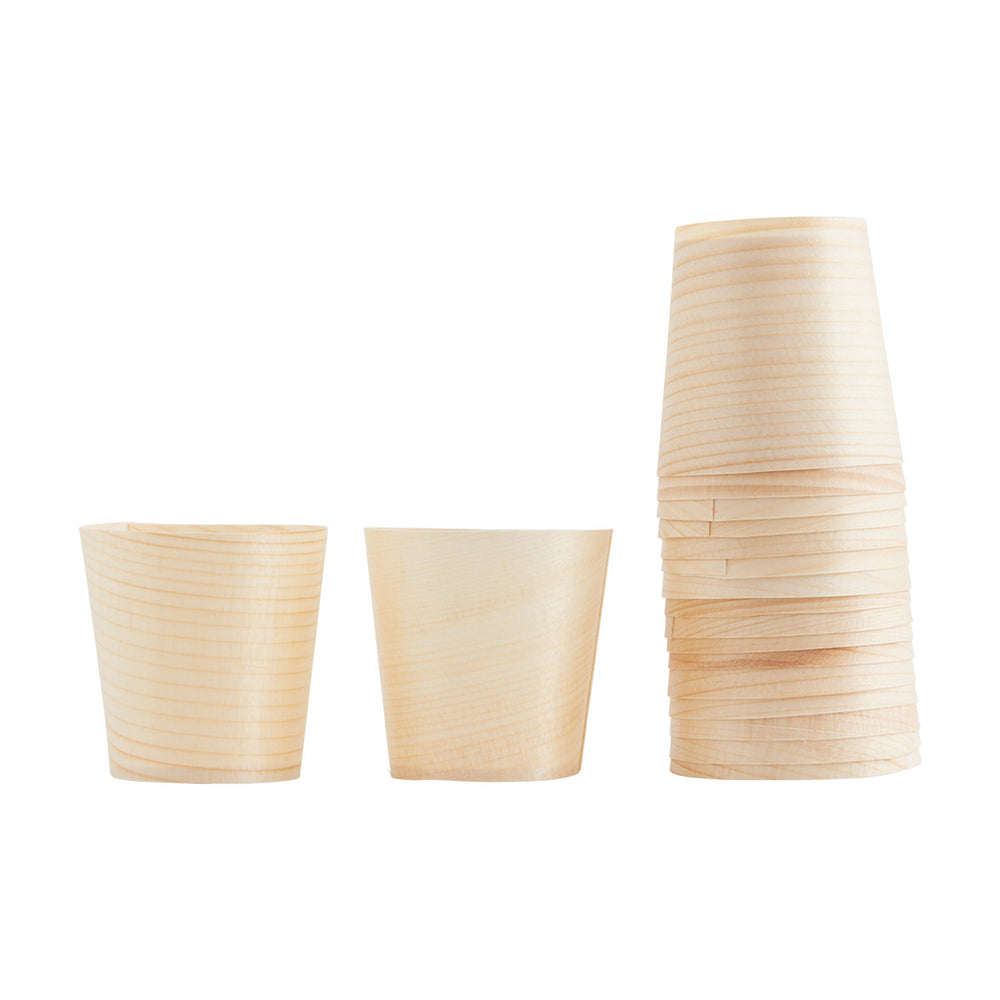 WOODEN CUPS- SET OF 24
