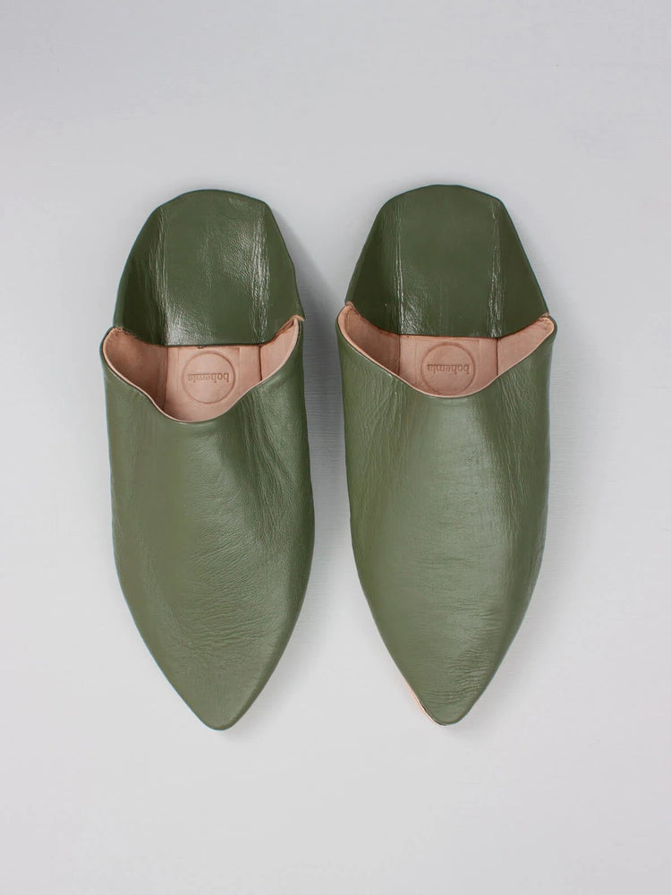 MOROCCAN MENS POINTED BABOUCHE SLIPPERS - OLIVE