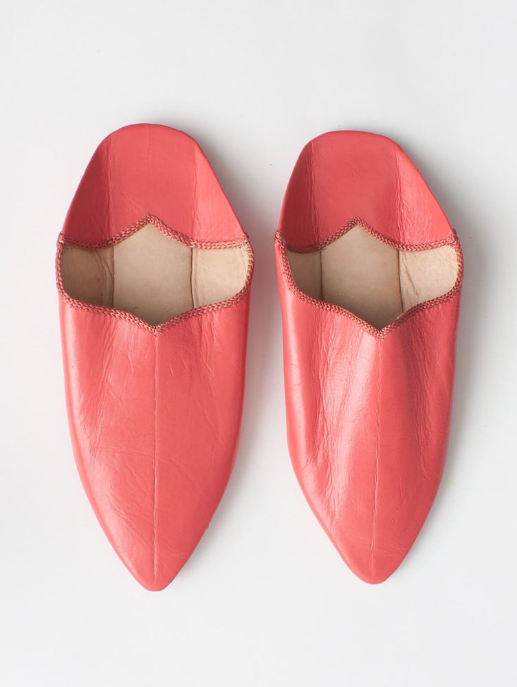 MOROCCAN POINTED BABOUCHE SLIPPERS - CORAL