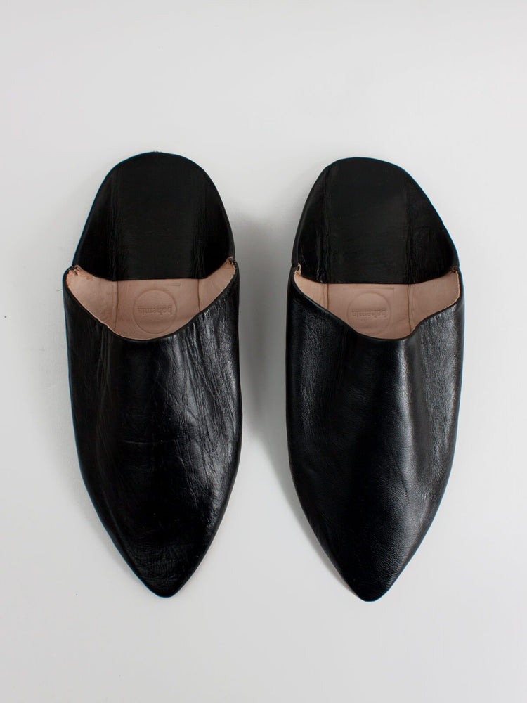 MOROCCAN MENS POINTED BABOUCHE SLIPPERS - BLACK