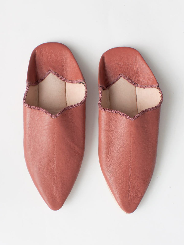 MOROCCAN PLAIN POINTED BABOUCHE SLIPPERS - TERRACOTTA