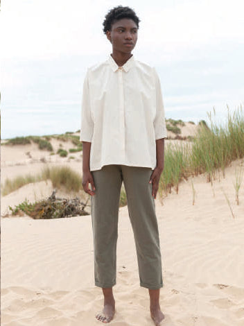 Candice Cotton Poplin Shirt  In Off White