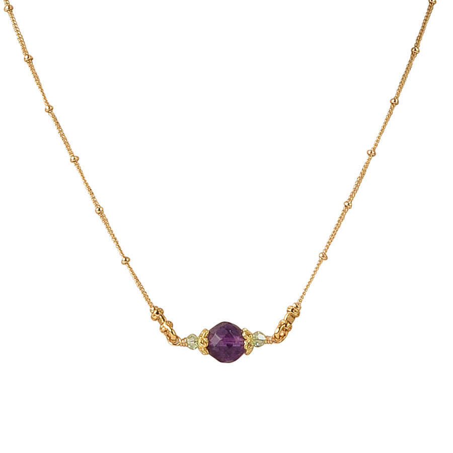 Dot Your I's Amethyst Necklace - Trezana
