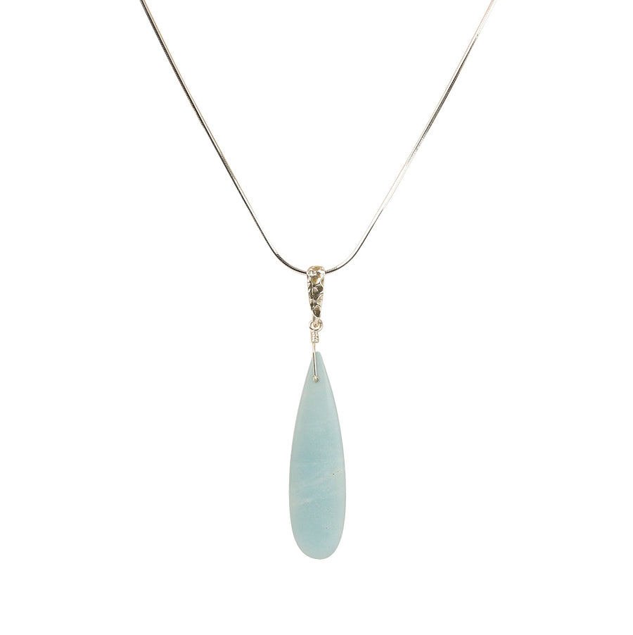 Slender Drop Amazonite Necklace - Trezana