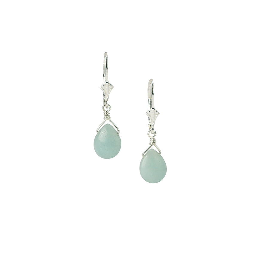Dainty Drop Amazonite Earrings - Trezana
