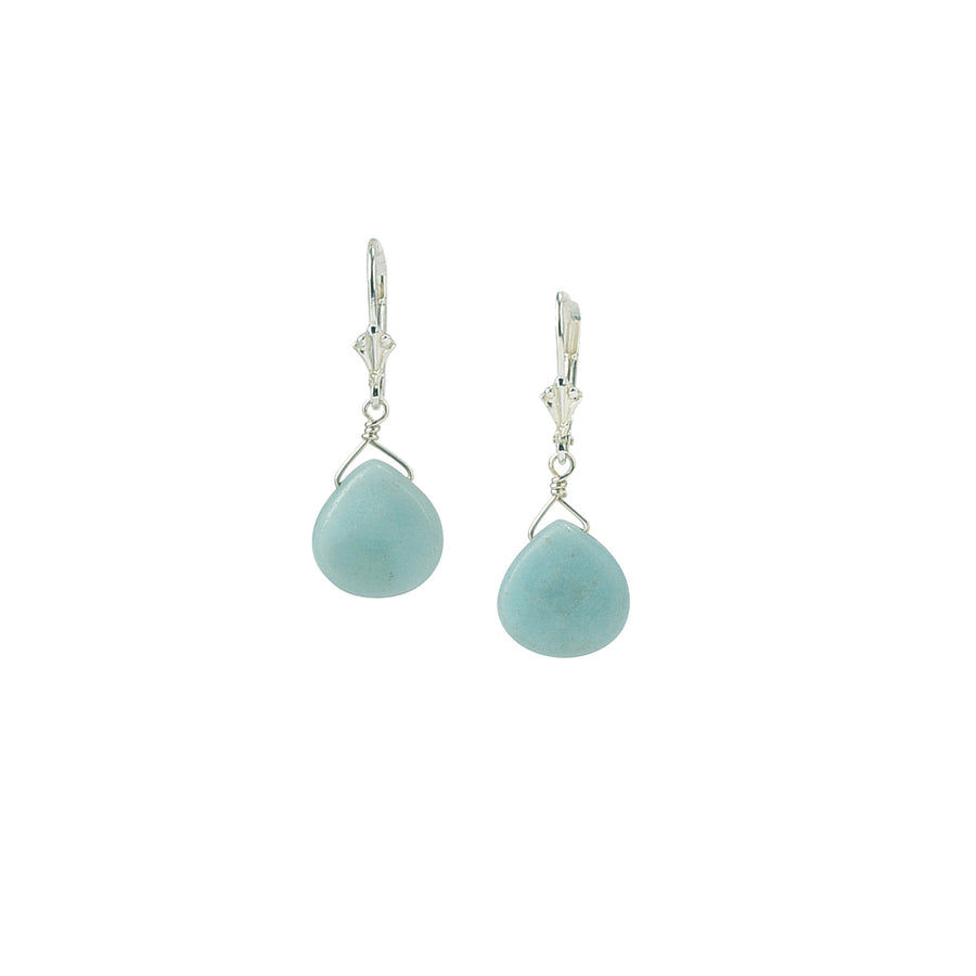 Large Dainty Drop Amazonite Earrings - Trezana