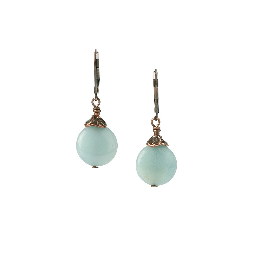 Rustic Globe Amazonite Earrings - Trezana