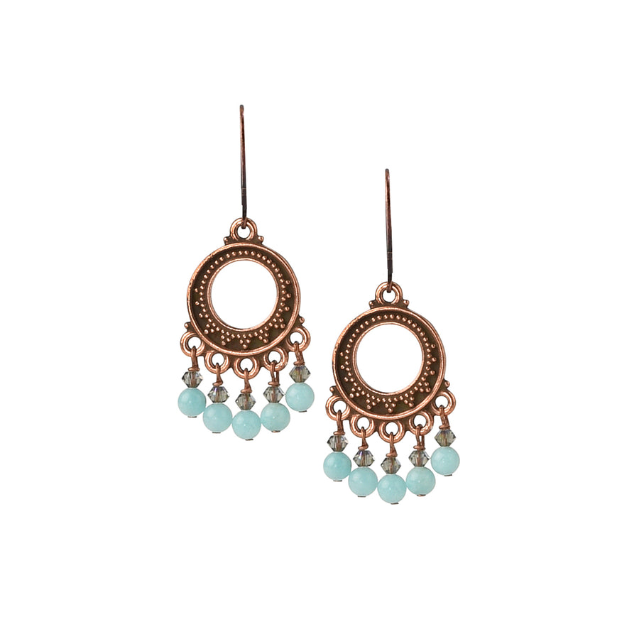 Rustic Chandelier Amazonite Earrings - Trezana