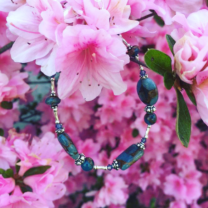 Liquid Silver Teal Blue Quartz Bracelet