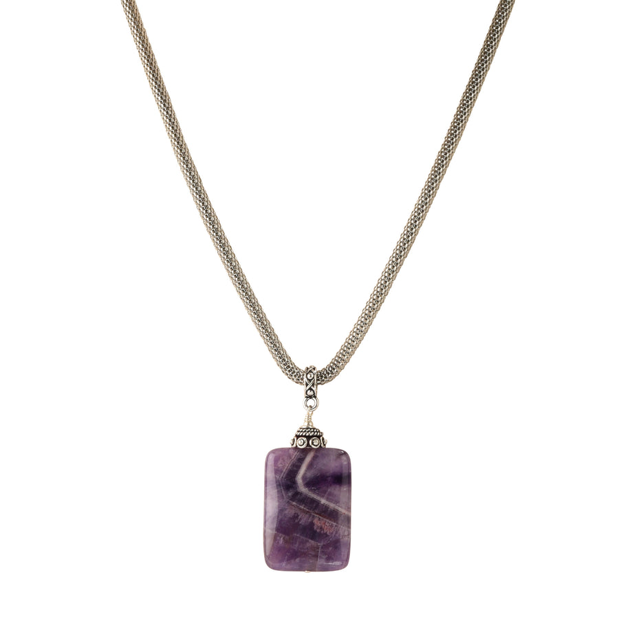 Picture Perfect Chevron Amethyst Necklace - Trezana