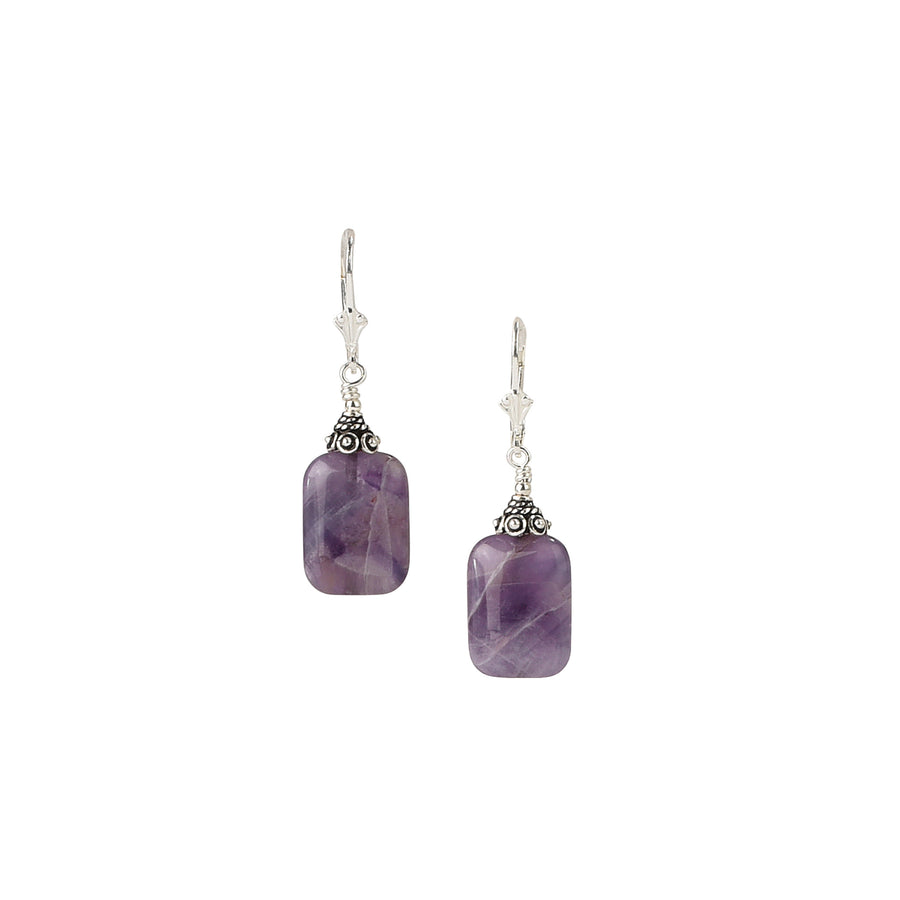 Picture Perfect Chevron Amethyst Earrings - Trezana