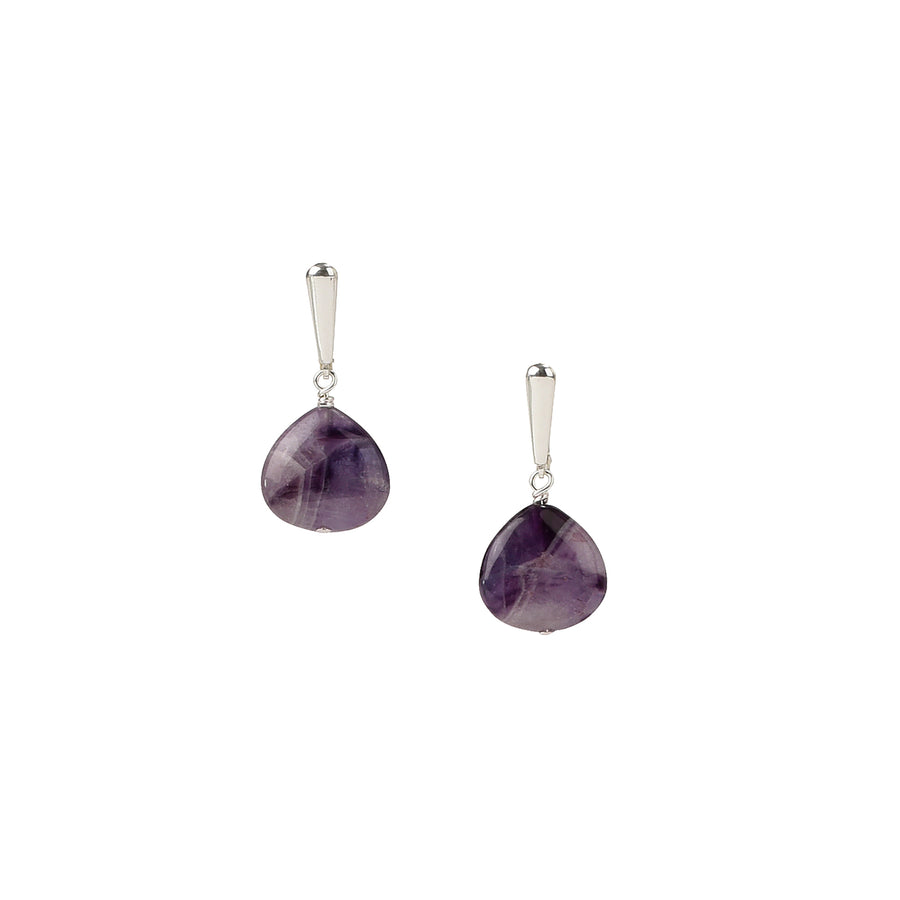 Large Dainty Drop Chevron Amethyst Earrings - Trezana